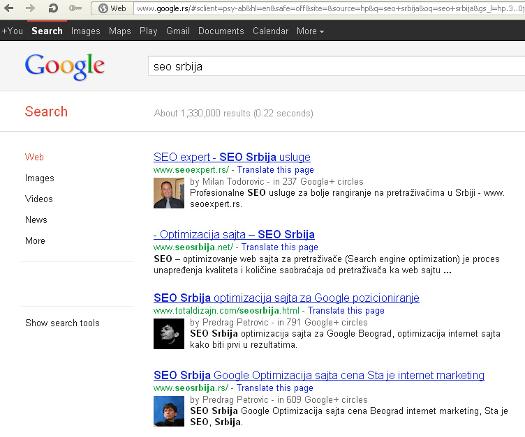 Kad se Seo Srbija ukuca u Google.rs