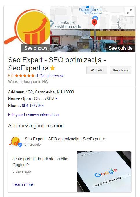 Sedište SeoExpert.rs na grafu znanja